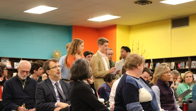 Student Council representatives stood and spoke in favor of unity and moving passed the Rebel name change on Wednesday, April 19 at the Tuttle Middle School.