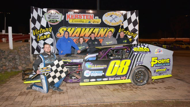 De Pere's Johnny Whitman is shown in Victory Lane after winning Shawano Speedway's opening night IMCA modified feature.