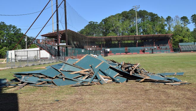 The outfield wall at Bringhurst Field was taken down over the weekend.