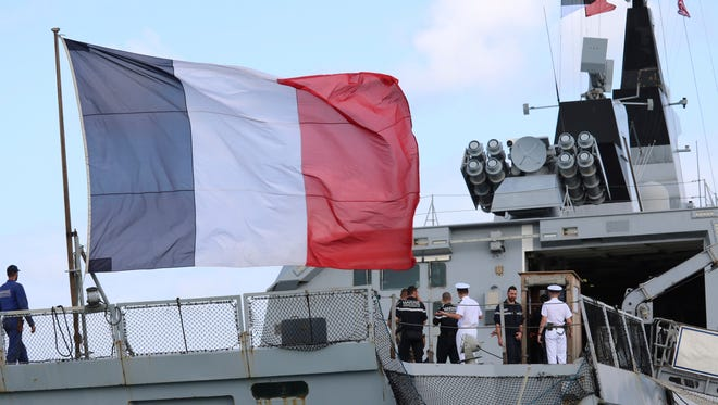 The French stealth frigate Courbet is shown docked at Naval Base Guam on May 11.