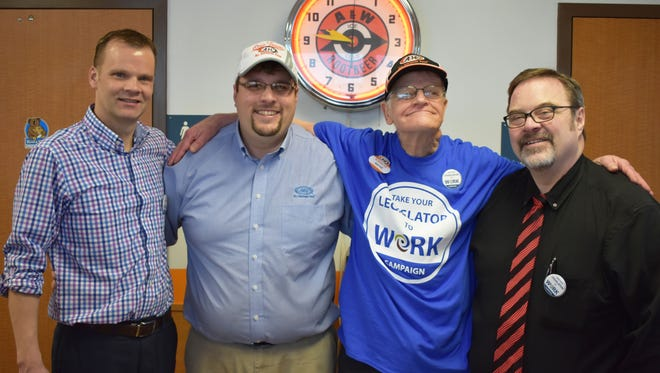 Lakeland Care member Wayne Bonfigt participated in the statewide Take Your Legislator to Work campaign. Pictured (from left) State Sen. Devin LeMahieu, A&W General Manager Nick Stangel, Lakeland Care member Wayne Bonfigt and State Rep. Paul Tittl.