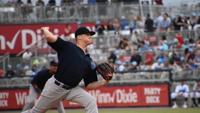 Mobile BayBears pitcher Grayson Long, a third round pick in 2015 by the Los Angeles Angels out of Texas A&M, earned the win Saturday night. He and the Blue Wahoos' Luis Castillo dueled as a pair of top-10 rated prospects for their organizations.