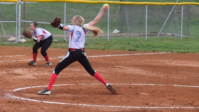 Evyn Hendrickson pitches at a game earlier in the season.