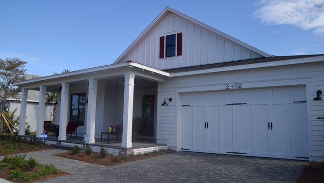 The Sterling model at Babcock  Ranch is designed to look like a farmhouse.