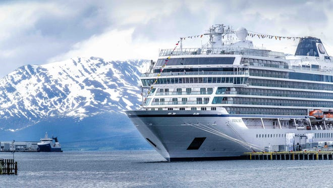 Viking Sky docked in Tromso, Norway for its christening on June 22, 2017.