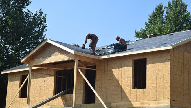 The new habitat house gained a roof this week as construction is underway for the new home.
