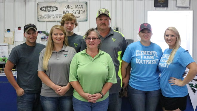 Pictured here are the employees and owners of Clements Farm Equipment. Levi Glazebrook, Shelby Clements, Weston Clements, Ellen Clements, Don Clements, Morgan Clements, and Jenna Dunn.