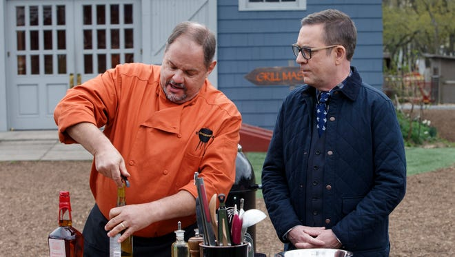 Jeff Bannister, left, with host of Chopped Grill Masters, Ted Allen.