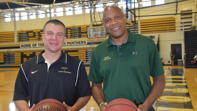 Joey Murdock, left, whose coaching stops included Pensacola State College, and Samba Johnson, who has 20-plus years as college coach, thrilled to be back in high school.