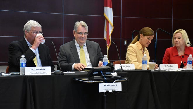 The Triumph Gulf Coast, Inc. board met in Panama City on Wednesday, Aug. 16, 2017. From the left sit Allan Bense, chair and former Florida House speaker; Don Gaetz, vice chair and former Florida Senate president; Pam Dana, board member and  IHMC senior advisor for strategic initiatives; and Lisa Walters, Triumph interim general counsel.