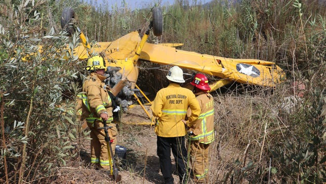 Flipped over plane that crash landed shortly after takeoff from Santa Paula airport on Labor Day, Sept. 4, 2017.