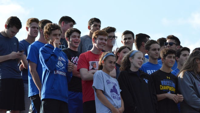 The Pearl River student section watches the Pirates take on rival Tappan Zee on Sept. 7, 2017.
