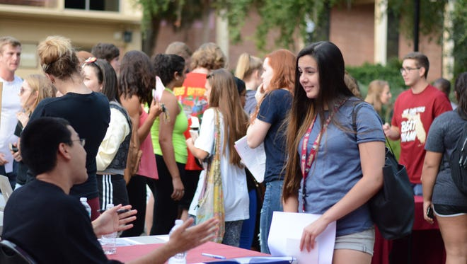 FSU Involvement Fair on Union Green, August 7, 2017.