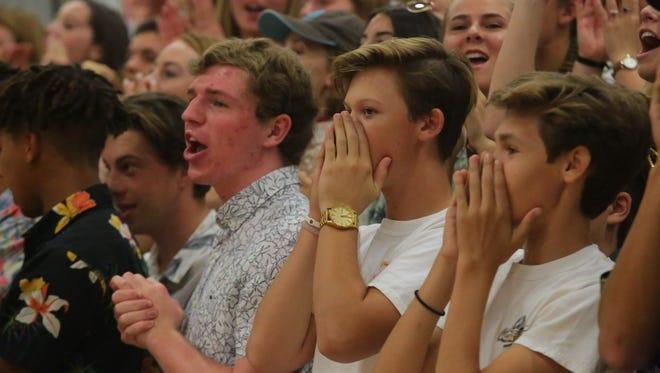 A loud crowd of Xavier Prep fans cheer for their team, Thursday, September 21, 2017.