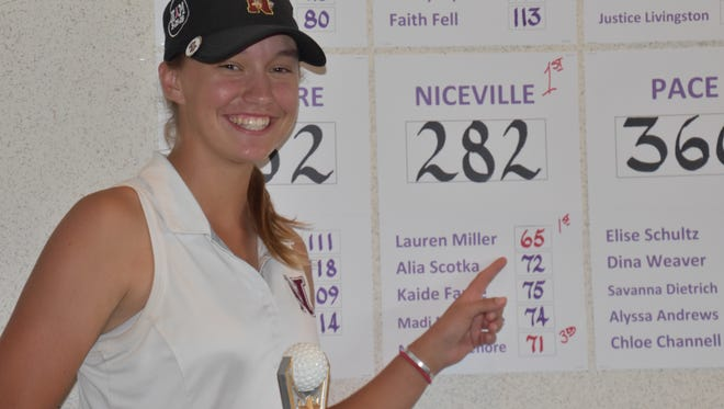Niceville High senior Lauren Miller points to her tournament record score after shooting 7-under 65 to win the FCA Girls High School Golf Classic at A.C. Read on Pensacola NAS.