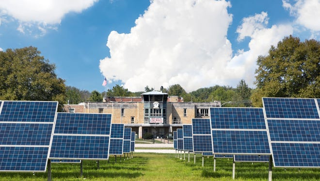 A photo illustration, created by the city of Cincinnati, of Lunken Airport covered in solar panels.
