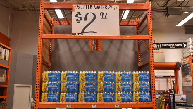 Water is no danger of selling out at the Home Depot on Mobile Highway as Pensacola residents brace for a possible hurricane.