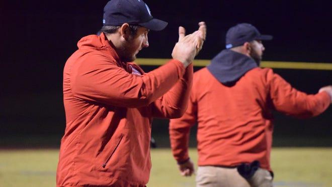 Kenneth Brummett celebrates during the game Friday night.