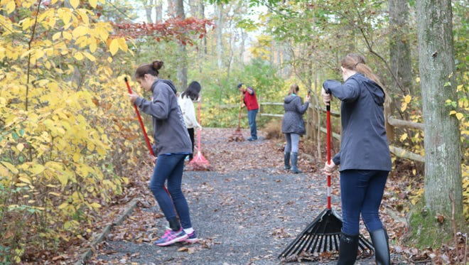 Oak Knoll School of the Holy Child's entire student body, supported by faculty and staff, spent Thursday, October 26, 2017, stocking shelves at food banks, visiting veterans and providing upkeep at environmental conversation sites during the annual Service Day.