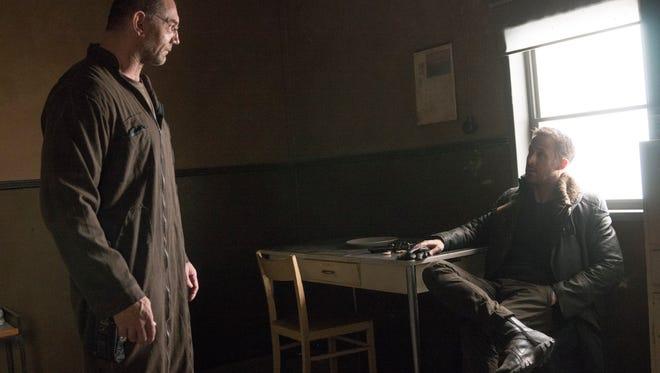"Dave Bautista as Sapper Morton, and Ryan Gosling as K star in ""Blade Runner 2049."""