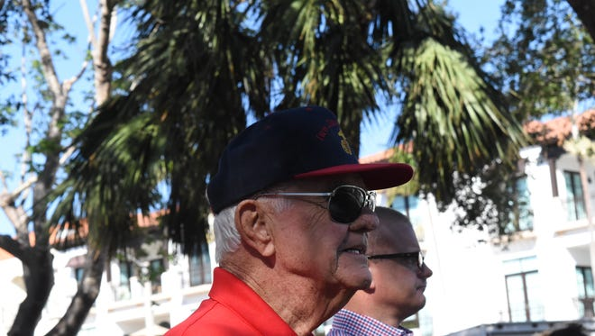 U.S. veteran Harold Pappy Wagner salutes the flag during the Veterans Day Ceremony hosted by the Collier County Veterans Council at Cambier Park in downtown Naples on Nov. 11, 2017.
