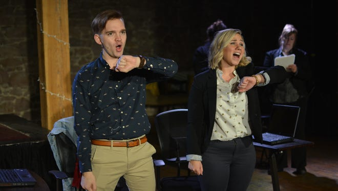 """Bob Wendland and Kristy Kayser on a stage during rehearsal for """"David & Lucy: A New Musical"""" opening Thursday."""