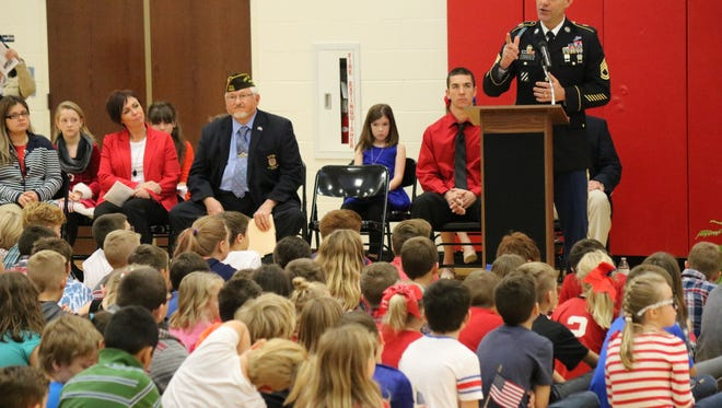Sgt. 1st Class Jeremy Schultz, a Port Clinton native serving in the U.S. Army, was this year's guest speaker at the school's annual 'Bataan Day' ceremony.