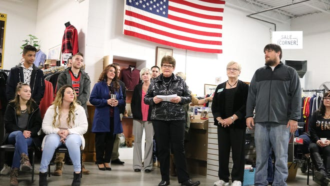 Mary Maine, store manager of the Portage Resale Center, thanks everyone involved for another successful year.
