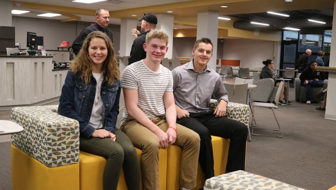 Port Clinton High School students Emma Eickert, Max Brenner and John Young, helped design the new student union and media center.