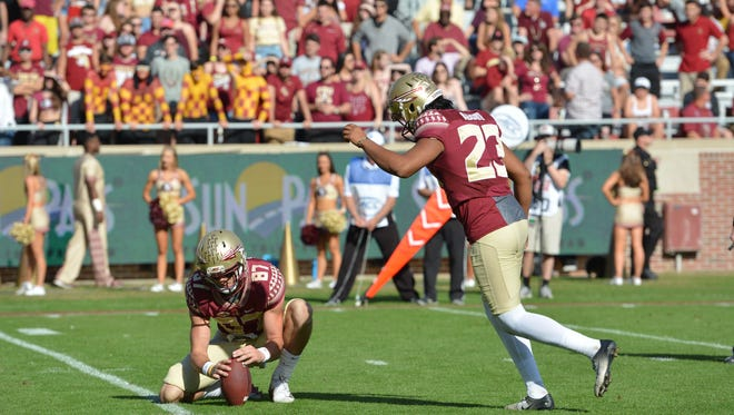 FSU place kicker Ricky Aguayo didn't miss one field goal in FSU's 42-10 victory over ULM on Saturday.