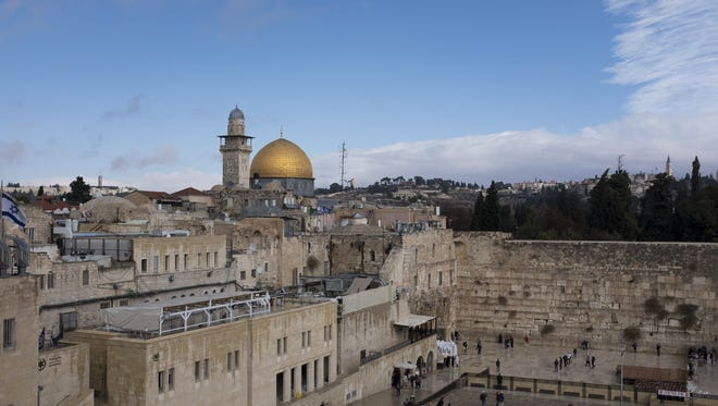 A view of the Western Wall and the golden Dome of the Rock Islamic shrine on Dec. 6, 2017 in Jerusalem, Israel.