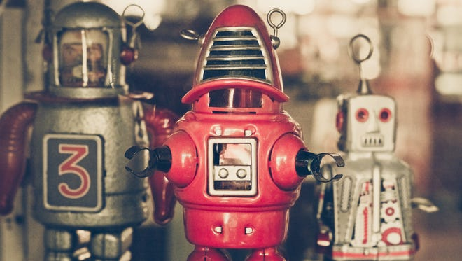 The collection of old classic tin robot toys