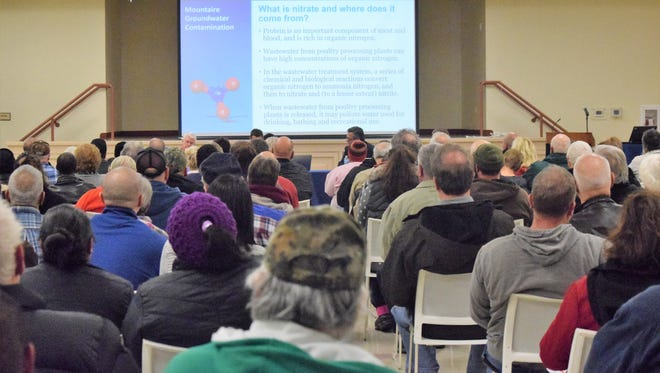 More than 200 residents attended a meeting hosted by lawyers on Jan. 8 to learn more about the recent violations at Mountaire Farms' Millsboro-area plant.