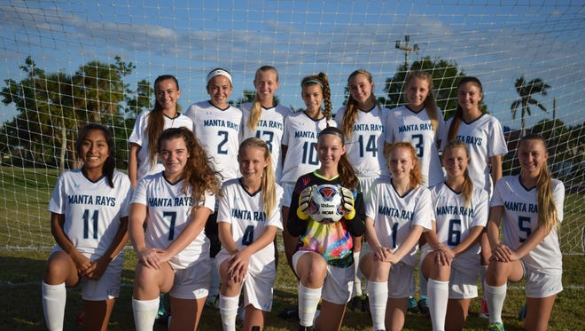The Marco Island Academy girls soccer team has established a school record for victories in a season with 10, breaking last year's mark of 8. The 10-4-1 Manta Rays have high hopes about the upcoming district playoffs. Members of the team are: Ellie Ball, Hailey Cartwright, Anna Chamberlain, Lauren Faremouth, Teagan Havemeier, Savannah Heimerl, Morgan Jones, Kayla Kladis, Morgan Maile, Jenna Palumbo, Kirra Polley, Elizabeth Schultheis, Julia Wagner, Olivia Watt and Danya Zarate.
