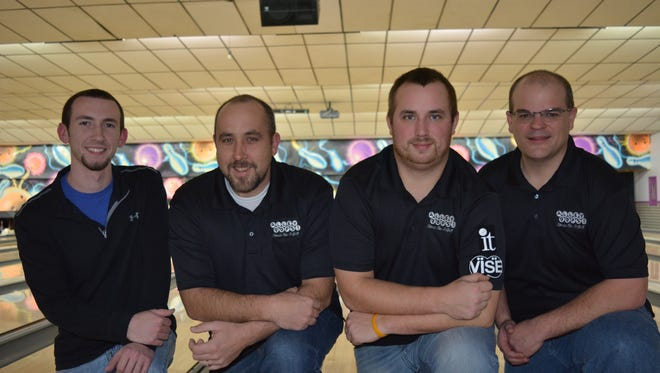 The Alley Oops team of, from left, Tanner Laughman, Eric Smith, Jacob Hawkins and Paul Wolfram set a four-man York County record of 3,013 at Suburban Bowlerama. It is the second highest four-man team total in the nation this season.