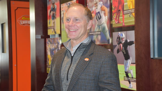 Senior Bowl executive director Phil Savage talks with the media on Thursday in Mobile.