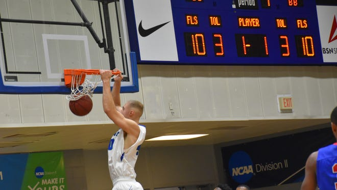 UWF's Henri Ventoniemi throws down a dunk during the first half of the Argos' win Friday night against West Georgia.