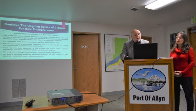 Port of Allyn Executive Director Lary Coppola and Chair Judy Scott share the port's Comprehensive Scheme of Harbor Improvements at a public meeting, Monday, Jan. 22. The port will accept comments on the plan until Feb. 15.