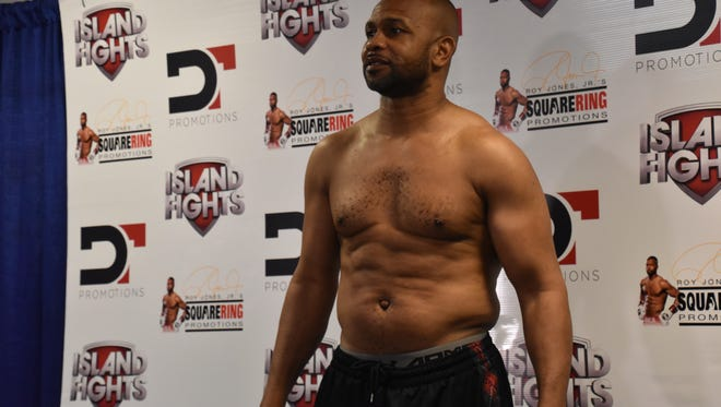 Roy Jones Jr. at his weigh-in Wednesday night for Island Fights 46 at the Bay Center.