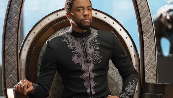 "This image released by Disney shows Chadwick Boseman in a scene from Marvel Studios' ""Black Panther."""