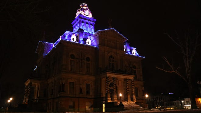 The Licking County Courthouse was lit in blue earlier this year for the fallen Westerville Police Officers. The commissioners on Thursday voted to add Sept. 11 to their officially recognized days to light the courthouse.