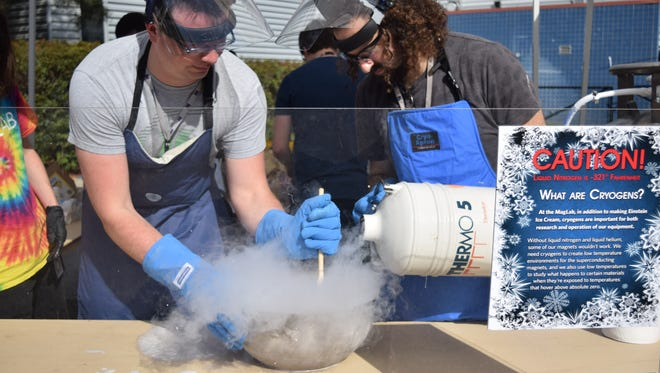 Ice cream is made using liquid nitrogen during the MagLab's open house.