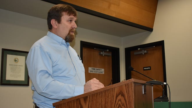 David Windom, director of Mason County Community Services, describes the county's new regulations related to water usage and development, at a public hearing, Tuesday, Feb. 20. The Squaxin Island Tribe testified concerns over the new regulations.