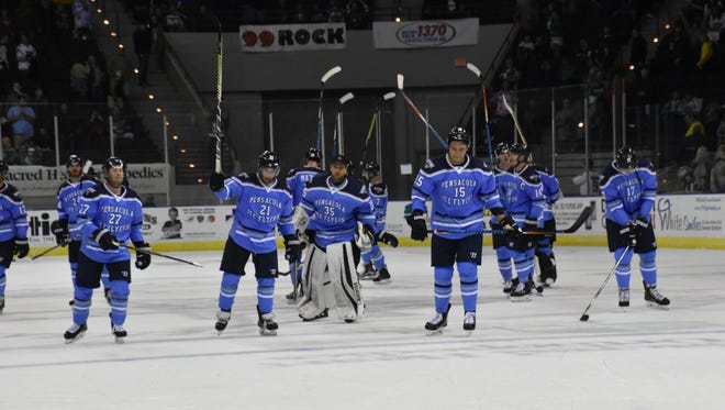 The Pensacola Ice Flyers, shown after a win last year, are set to begin training camp either Thursday or Friday after getting through Hurricane Michael scare