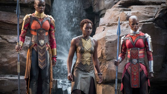From left, Danai Gurira, Lupita Nyong'o and Florence