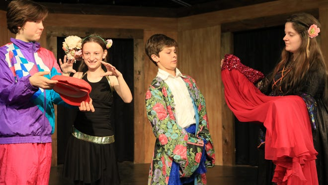 """ArtSpace Charter School's Patrick Flynn, Olivia Taylor, Jackson Knoll and Sophie Coggins perform in last year's production of """"The Merchant of Venice."""""""