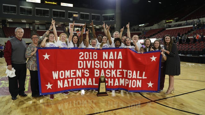 Freed-Hardeman's women's basketball team celebrated the program's first national championship on Tuesday.