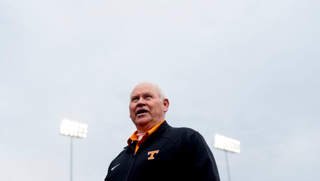 Phillip Fulmer greets fans during a game between Tennessee and Alabama at Lindsey-Nelson Stadium in Knoxville, Tennessee on Friday, March 23, 2018.