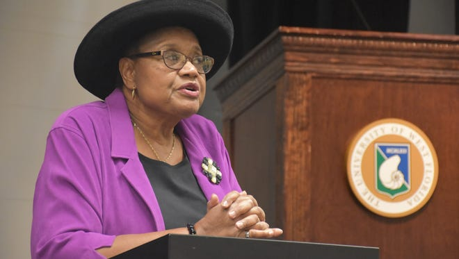 Augusta Simon, the first African American to have a position in the University of West Florida's administrative staff, spoke about women's history on Friday.