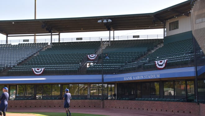 The Pensacola Blue Wahoos take batting practice at Hank Aaron Stadium Thursday prior to the season opener against the Mobile Bay Bears.